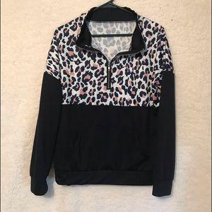 Tops - Leopard print women's 1/4 zip hoodie